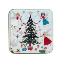 small tin with christmas tree and fairies