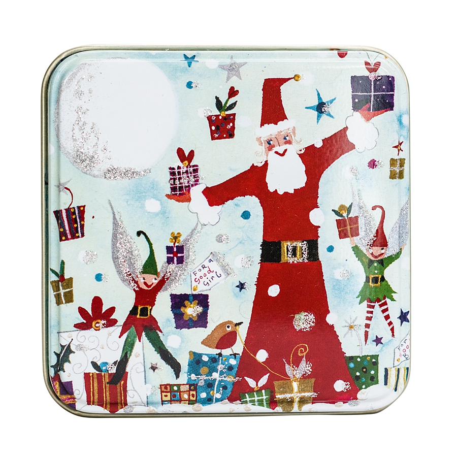 small tin with santa and elves