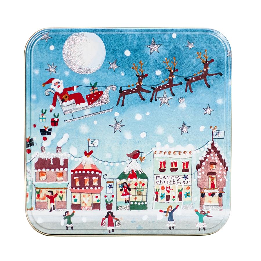 small christmas tin with santa on a sleigh