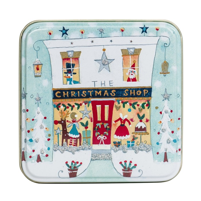 small christmas tin with shop image and silver glitter