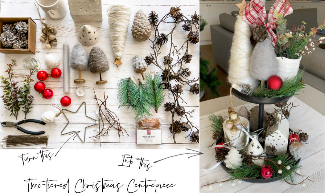 how to easily make a two tiered Christmas centrepiece