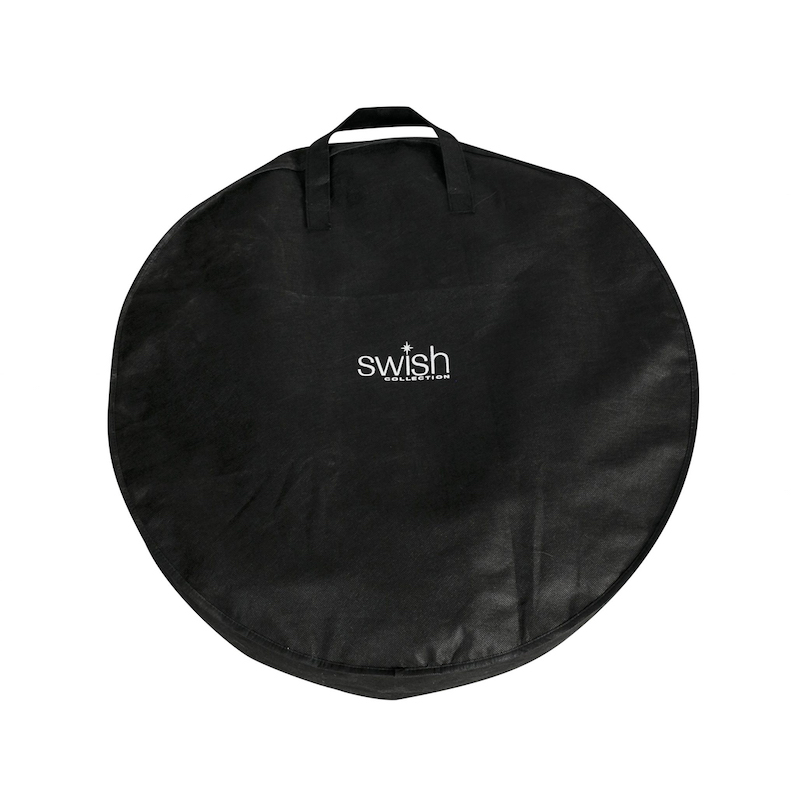 wreath storage bag black with swish on it