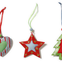 set of 3 metal and fabric decorations,heart,star and tree