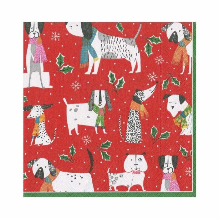 christmas canines lunch paper napkin