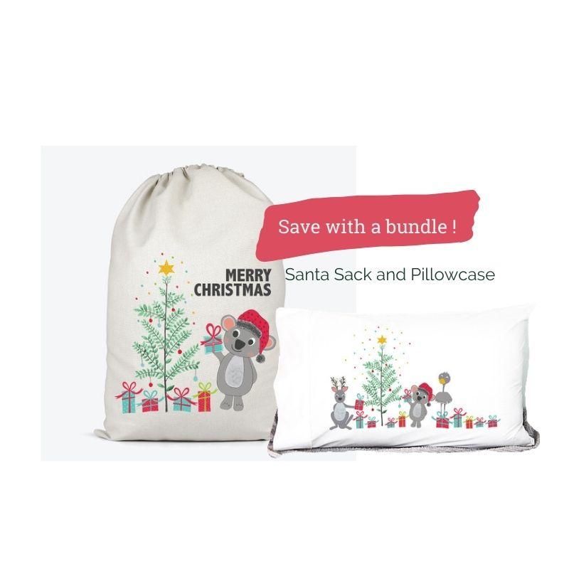koala santa sack and aussie animals pillowcase bundle