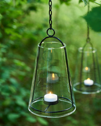 albert lantern glass with black frame and tealight holder