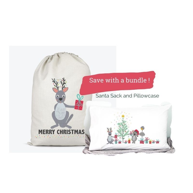 kangaroo santa sack and animals friends pillowcase bundle