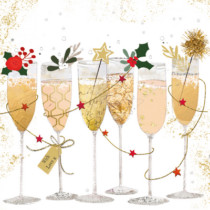 champagne glasses on lunch napkin