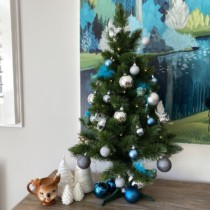decorated pitch pine 90cm in blue