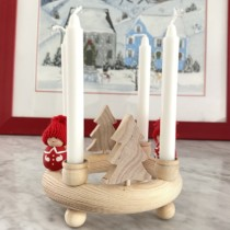sweidsh mini wooden candle wreath with natural trees and 2 santas