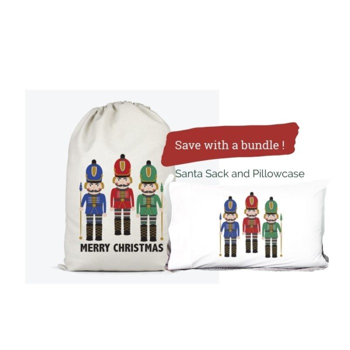 nutcracker santa sack and pillowcase bundle