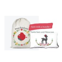 red bird santa sack and fawn pillowcase bundle