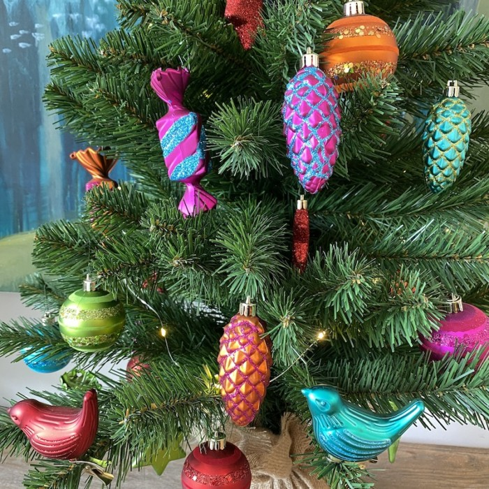 close up of multicoloured baubles