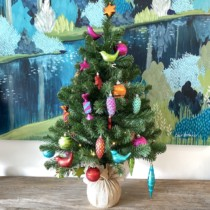 90cm tree with multicoloured baubles and lights